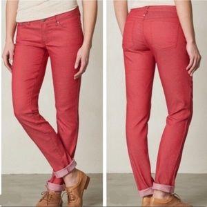 PrAna Kara Straight Leg Jeans Red Organic Cotton